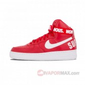 18SS新作 シュプリーム*ナイキ エア フォース 1 レッド ナイキ GS 698696-610 NIKE AIR FORCE 1 HIGH SUPREME SP RED レディース/WMNS